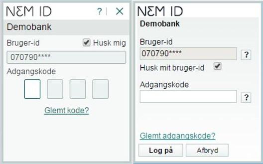 Skift til en NemID adgangskode med fire tal